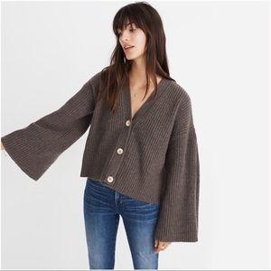 {MADEWELL} Wide-Sleeve Crop Cardigan Sweater M